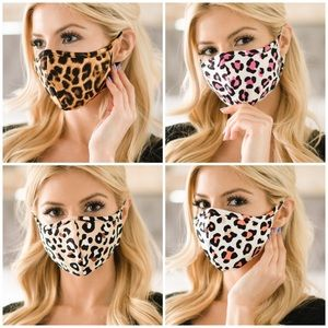 Accessories - Coral Pink Leopard Print Face Mask